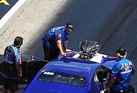 Jun 18, 2016; Bristol, TN, USA; Crew members for NHRA pro mod driver Jim Whiteley during qualifying for the Thunder Valley Nationals at Bristol Dragway. Mandatory Credit: Mark J. Rebilas-USA TODAY Sports