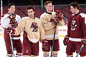 Michael Kim (BC - 4), Austin Cangelosi (BC - 9), Christopher Brown (BC - 10), JD Dudek (BC - 15) - The Boston College Eagles practiced at Fenway on Friday, January 6, 2017, in Boston, Massachusetts.