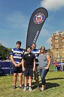 Bath Rugby supporters pose for a photo. Bath Rugby Family Festival of Rugby, on August 8, 2015 at the Recreation Ground in Bath, England. Photo by: Patrick Khachfe / Onside Images