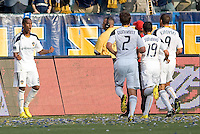 LA Galaxy players Alex Cazumba (88), begins to celebrate after scoring his first MLS goal as teammates Todd Dunivant (2), Juninho (19) and Jovan Kirovski (9) come over to congratulate him.The LA  Galaxy defeated the Houston Dynamo 4-1 at Home Depot Center stadium in Carson, California on Saturday evening June 5, 2010..
