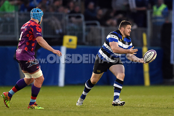 Shaun Knight of Bath United passes the ball. Remembrance Rugby match, between Bath United and the UK Armed Forces on May 10, 2017 at the Recreation Ground in Bath, England. Photo by: Patrick Khachfe / Onside Images
