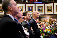 TALLAHASSEE, FLA. 3/3/15-Gov. Rick Scott, right, is joined by Lt. Gov. Carlos Lopez-Cantera, Attorney General Pam Bondi, Agriculture Commissioner Adam Putnam and Chief Financial Officer Jeff Atwaterduring the opening day of the 2015 Legislative Session Tuesday at the Capitol in Tallahassee.<br /> <br /> COLIN HACKLEY PHOTO
