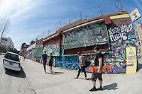 A mural seen in the Bushwick neighborhood of Brooklyn in New York on Saturday, April 19, 2014. The neighborhood is undergoing gentrification changing from a rough and tumble mix of Hispanic and industrial to a haven for hipsters, forcing many of the long-time residents out because of rising rents.. (©Frances M. Roberts)
