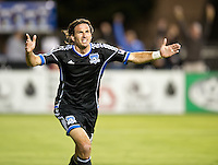 SANTA CLARA, CA - July 18, 2012: San Jose Earthquake forward Alan Gordon (16) during the San Jose Earthquakes vs  FC Dallas match at the Buck Shaw Stadium in Santa Clara, California. Final score San Jose Earthquakes 2, FC Dallas 1.