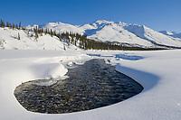 Open water on the Koyukuk river in the foothills of the Brooks Mountain Range, Arctic, Alaska