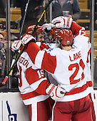 Robbie Baillargeon (BU - 19), T.J. Ryan (BU - 3), Matt Lane (BU - 21) - The Boston College Eagles defeated the Boston University Terriers 3-1 (EN) in their opening round game of the 2014 Beanpot on Monday, February 3, 2014, at TD Garden in Boston, Massachusetts.