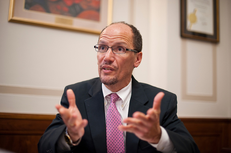 UNITED STATES - OCTOBER 5: Thomas E. Perez, Assistant Attorney General for the Civil Rights Division of the United States Department of Justice, speaks to Roll Call reporters in his office on Wednesday, Oct. 5, 2011. (Photo By Bill Clark/CQ Roll Call)