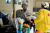 Jack Campbell (USA - 1), Jeremy Morin (USA - 26) - Team USA practiced at the Agriplace rink on Monday, December 28, 2009, in Saskatoon, Saskatchewan, during the 2010 World Juniors tournament.