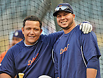 28 September 2012: Detroit Tigers third baseman Miguel Cabrera (left) smiles with shortstop Jhonny Peralta (right) await their turn in the batting cage prior to a game against the Minnesota Twins at Target Field in Minneapolis, MN. The Twins defeated the Tigers 4-2 in the first game of their 3-game series. Mandatory Credit: Ed Wolfstein Photo