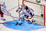 25 January 2009: Western Conference All-Star from the Minnesota Wild, goaltender Niklas Backstrom makes a second period save against the Eastern Conference All-Stars during the 2009 NHL All-Star Game at the Bell Centre in Montreal, Quebec, Canada. The Eastern Conference defeated the Western Conference 12-11 in a shootout.. ***** Editorial Sales Only ***** Mandatory Photo Credit: Ed Wolfstein Photo