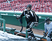 John Gilmour (PC - 3) -  - The participating teams in Hockey East's first doubleheader during Frozen Fenway practiced on January 3, 2014 at Fenway Park in Boston, Massachusetts.