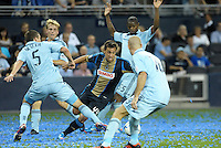 Union midfielder Danny Cruz (44) is fouled in the Sporting KC penalty box, resulting in a penalty kick..Sporting Kansas City defeated Philadelphia Union 2-1 at LIVESTRONG Sporting Park, Kansas City, KS.