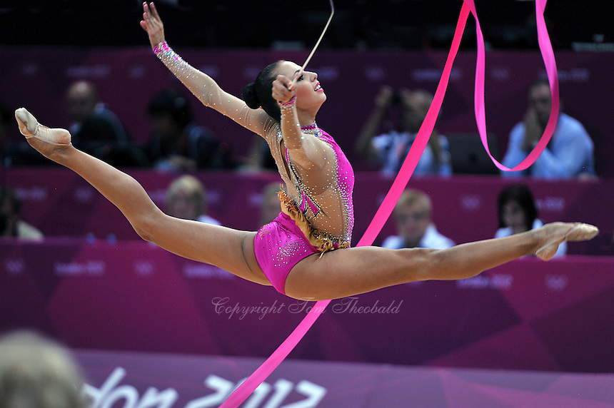 August 11, 2012; London, Great Britain;  DARIA DMITRIEVA of Russia performs with ribbon in rhythmic gymnastics individual All-Around final to win silver at London 2012 Olympics. Dmitrieva won