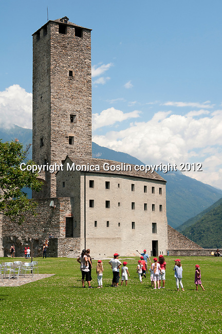 The tower and courtyard of Castelgrande, the largest castle in Bellinzona, Switzerland