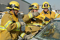 Santa Monica Fire Department recruits go through drills at the SMFD Fire Training Academy on Wednesday, Feb. 21, 2007. The recruits are going through an intense one year training program consisting of 2 months at the academy and 10 months in the field before becoming official firefighters.
