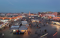 Stalls in Djemma el Fna square and marketplace in the evening, Medina, Marrakech, Morocco. Picture by Manuel Cohen