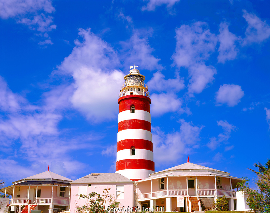 Elbow Cay Reef Lighthouse, New England Style Lighthouse on Elbow Cay, Hopetown, Family Islands, Bahamas, Caribbean Sea
