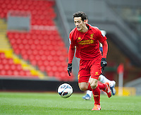 LIVERPOOL, ENGLAND - Easter Monday, April 1, 2013: Liverpool's Krisztian Adorjan in action against Tottenham Hotspur during the Under 21 FA Premier League match at Anfield. (Pic by David Rawcliffe/Propaganda)