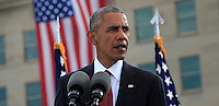 WASHINGTON DC - SEPTEMBER 11: United States President Barack Obama delivers remarks at the Pentagon Memorial in Washington, DC during an observance ceremony to commemorate the 15th anniversary of the 9/11 terrorist attacks, Sunday, September 11, 2016. <br /> Credit: Dennis Brack / Pool via CNP/MediaPunch