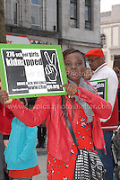 Rally supporter Gift Omoyibo Ese makes her statment.<br /> <br /> <br /> Cardiff, South Wales. Sunday May 11th 2014. Nigerians in Cardiff in organised rally in support of the 276 abducted school children in Chibok, Nigeria by Boko Haram terrorists. <br /> <br /> Photo by Jeff Thomas/Jeff Thomas Photography