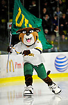 12 December 2009: University of Vermont Catamount Team Mascot Rally Cat skates around the rink prior to a game against the St. Lawrence University Saints at Gutterson Fieldhouse in Burlington, Vermont. The Catamounts shut out their former ECAC rival Saints 3-0. Mandatory Credit: Ed Wolfstein Photo