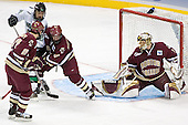 Benn Ferreiro, Chris Porter, Brett Motherwell, Cory Schneider - The Boston College Eagles defeated the University of North Dakota Fighting Sioux 6-5 on Thursday, April 6, 2006, in the 2006 Frozen Four afternoon Semi-Final at the Bradley Center in Milwaukee, Wisconsin.