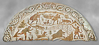 4th century Roman mosaic panel of a boar hunt from Cathage, Tunisia. The Bardo Museum, Tunis, Tunisia. Grey background