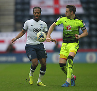Reading's Chris Gunter handles the ball under pressure from Preston North End's Daniel Johnson<br /> <br /> Photographer Mick Walker/CameraSport<br /> <br /> The EFL Sky Bet Championship - Preston North End v Reading - Saturday 11th March 2017 - Deepdale - Preston<br /> <br /> World Copyright &copy; 2017 CameraSport. All rights reserved. 43 Linden Ave. Countesthorpe. Leicester. England. LE8 5PG - Tel: +44 (0) 116 277 4147 - admin@camerasport.com - www.camerasport.com