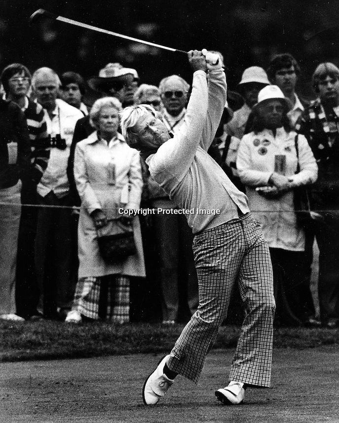 Jack Nicklaus drives the ball...(1977 photo/Ron Riesterer)