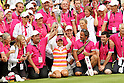 Ai Miyazato (JPN),JULY 24, 2011 - Golf :Ai Miyazato of Japan poses with the trophy and Evian Masters staffs after winning the Evian Masters at the Evian Masters Golf Club in Evian-les-Bains, France. (Photo by Yasuhiro JJ Tanabe/AFLO)