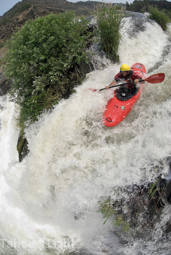 extreme waterfall kayaking on Pit River release with fisheye lens.Matt Thomas