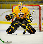 29 December 2007: Quinnipiac University Bobcats' goaltender Peter Vetri, a Junior from Windham, NH, warms up prior to a game against the Western Michigan University Broncos at Gutterson Fieldhouse in Burlington, Vermont. The Bobcats defeated the Broncos 2-1 in the first game of the Sheraton/TD Banknorth Catamount Cup Tournament...Mandatory Photo Credit: Ed Wolfstein Photo