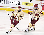 Kevin Hayes (BC - 12), Bill Arnold (BC - 24) - The Boston College Eagles defeated the visiting Northeastern University Huskies 3-0 after a banner-raising ceremony for BC's 2012 national championship on Saturday, October 20, 2012, at Kelley Rink in Conte Forum in Chestnut Hill, Massachusetts.