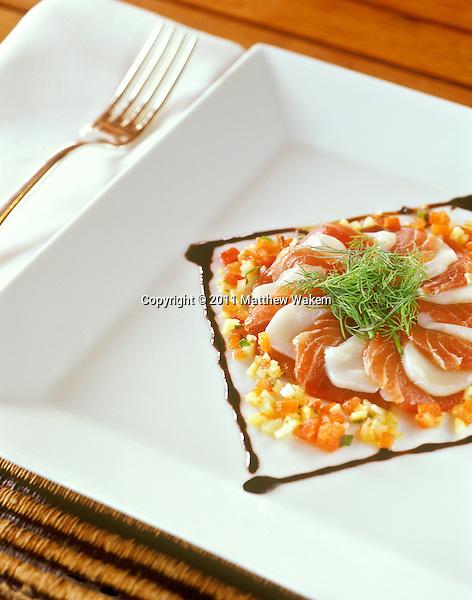 CAP EST, MARTINIQUE : Cappaccio of Tuna and Scallops at the Belem Restaurant,Le Cap Est Lagoon Resort & Spa, Martinique, Caribbean.