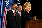 Chicago, IL - December 1, 2008 -- United States Senator Hillary Rodham Clinton, right, speaks to the press after being introduced as United States President-elect Barack Obama's, left, nominee for Secretary of State.  Obama also introduced James L. Jones, middle, chosen as national security advisor, and Susan Rice, far right, chosen as United Nations ambassador, Monday morning at the Chicago Hilton & Towers in Chicago, Illinois..Credit: Anne Ryan - Pool via CNP