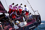 Il Mostro, sponsored by Puma, Volvo Ocean Race open 70 sailing at the start of the Newport Bermuda Race 2010. The race started in Newport, Rhode Island on June 18, 2010.