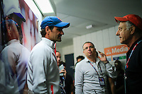 Roger Federer (L ) of Switzerland speaks with journalist after  a news conference at the Arthur ASHE stadium during the US Open 2015 tennis Tournament in New York. 08.29.2015.  Eduardo MunozAlvarez/VIEWpress.