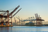 Elliott Bay and Harbor Island in Seattle, Washington State are shipping ports for Pacific Rim Trade.