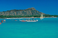 Diamond head with Outrigger canoe and sailboat, Oahu