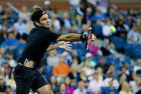 Roger Federer of Switzerland returns a ball during second round match at the US Open 2014 tennis tournament at the USTA Billie Jean King National Center in New York.  08.29.2014. VIEWpress