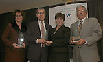 WATERBURY, CT-20January 2005-012005TK10  (left to right:) Three local  business were honored at the Waterbury Regional Chamber's Annual Harold Webster Smith awards breakfast. Lisa Taccardi of Angels Watching Over You, Inc. was awarded the Small Business of the Year. John Loyer and Lynn Tata of J&J Medical Services, LLC was awarded Entrepreneur of the Year. Sandy Alves of Alves Precision Engineered Products, Inc. was awarded the Manufacturer of the Year. Tom Kabelka staff photo (Lisa Taccardi, Angels Watching Over You, Inc., John Loyer, Lynn Tata, J&J Medical Services, Sandy Alves, Alves Precision Engineered Products, Inc.)CQ
