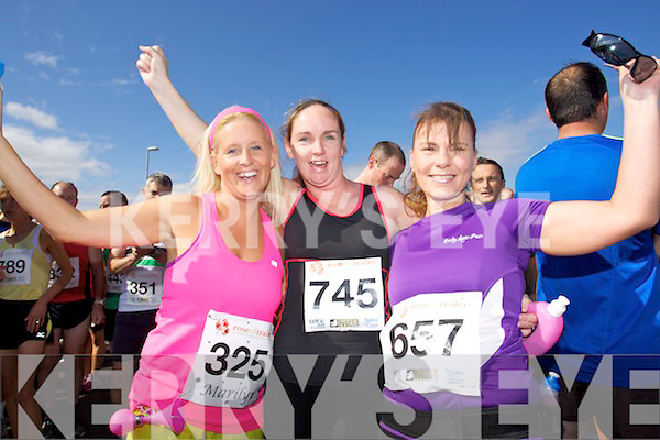 from left Marilyn O'Mahony, Mary Smullen and Caroline McConnell pictured at the Rose of Tralee International 10k Race in Tralee on Sunday.