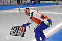 SCHAATSEN: BERLIJN: Sportforum, 08-12-2013, Essent ISU World Cup, Jan van Veen (coach Team Corendon), rondebord, ©foto Martin de Jong