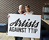 Artists Against TTIP <br /> The Transatlantic Trade &amp; Investment Partnership (TTIP) - a growing group of performers musicians designers directors who are raising awareness of the threats posed by TTIP. <br /> at the Young Vic Theatre London Great Britain <br /> 2nd July 2015 <br /> <br /> <br /> Dame Vivienne Westwood <br /> <br /> Caroline Lucas MP <br /> <br /> <br /> <br /> Photograph by Elliott Franks <br /> Image licensed to Elliott Franks Photography Services