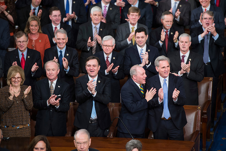 UNITED STATES - FEBRUARY 28: First row from left, Reps. Diane Black, R-Tenn., Rodney Frelinghuysen, R-N.J., Luke Messer, R-Ind., House Majority Whip Steve Scalise, R-La., and Majority Leader Kevin McCarthy, R-Calif., are seen with other GOP members in the House Chamber before President Donald Trump addressed a joint session of Congress in the Capitol, February 28, 2017. (Photo By Tom Williams/CQ Roll Call)