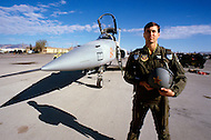 Nellis Air Force Base, Nevada - December 4, 1984. Pilots commence training at the U.S. Air Force Tactical Fighter Weapons Center. The U.S. Air Force Tactical Fighter Weapons Center, later renamed the U.S. Air Force Warfare Center in 2005, was founded in 1966 and manages advanced pilot training, concentrating in development of weapons systems.