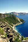OR:  Oregon; Crater Lake National Park, scenic view of Crater Lake         .Photo Copyright Lee Foster, lee@fostertravel.com, www.fostertravel.com, (510) 549-2202.Image orcrat204