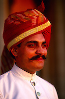 Indian man in turban, Umaid Bhawan Palace Hotel, Jodhpur, Rajasthan, India
