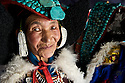 A Ladakhi woman in her traditional dress worn during the Ladakh Festival.  The headdress is called a Perak and is made from turquoise passed down through the generations.