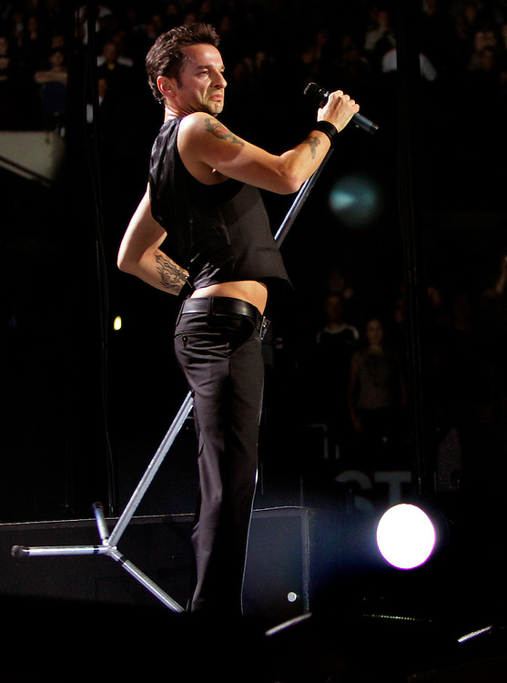 Depeche Mode lead singer David Gahan works the crowd while in concert at the Staples Center, Monday in L.A.